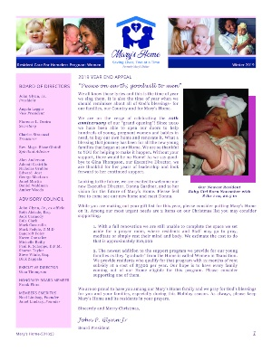 cover of marys home winter newsletter